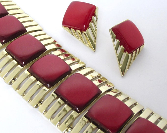 AMAZING CHAREL signed Rich Red velvet thermoset Art Deco style huge wide huge Bracelet & Earring SET ~Mid Century vintage costume jewelry