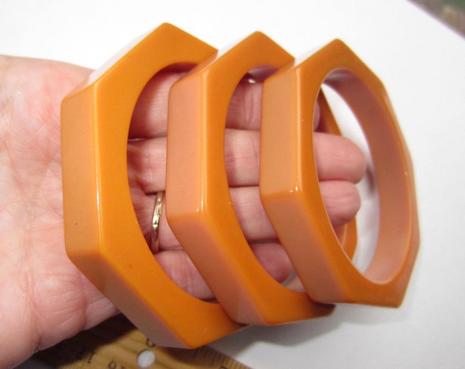 Trio BAKELITE tested OCTAGON caramel butterscotch Bangle Bracelets ~over 90 gms of fantastic vintage costume jewelry