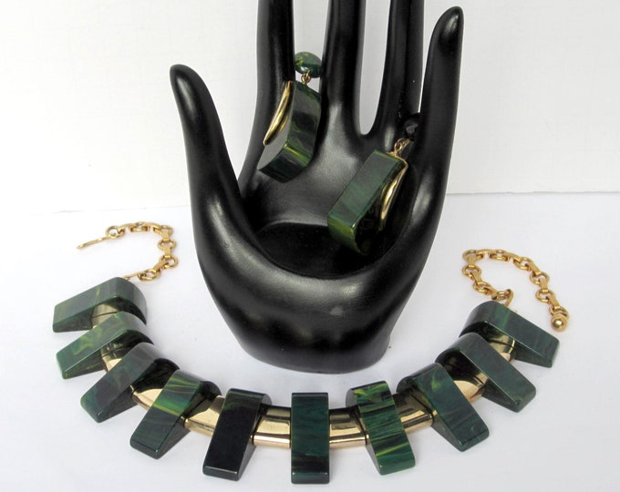 Bakelite Blue Moon (tested) Egyptian Revival Necklace & Earring set ~rare, beautiful vintage costume jewelry