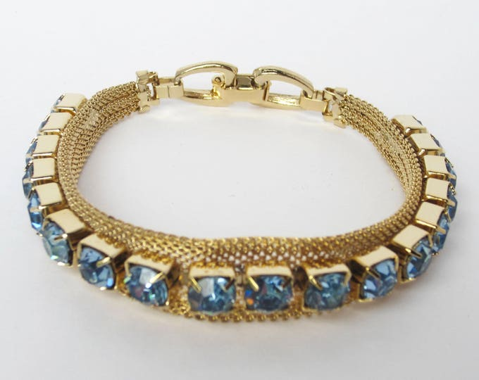 ICY Blue rhinestone MESH bracelet ~lovely, vintage costume jewelry