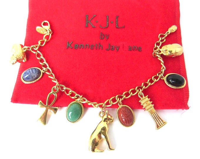 Kenneth Jay Lane signed Egyptian Revival charm Bracelet with org. pouch ~vintage costume jewelry