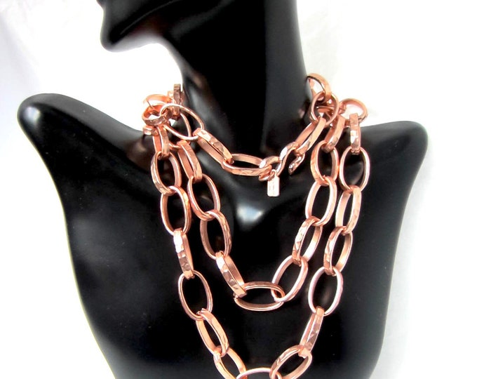 Kenneth Lane signed ROSE tone oversized Chain Necklace ~95 gms high-end, vintage costume jewelry