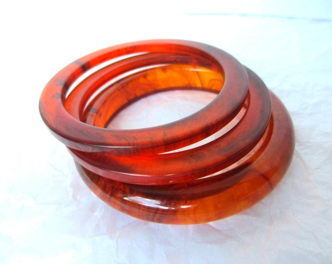 3 BAKELITE tested FIERY tortoise shell Bangle Bangles ~52 gms of pretty vintage costume jewelry