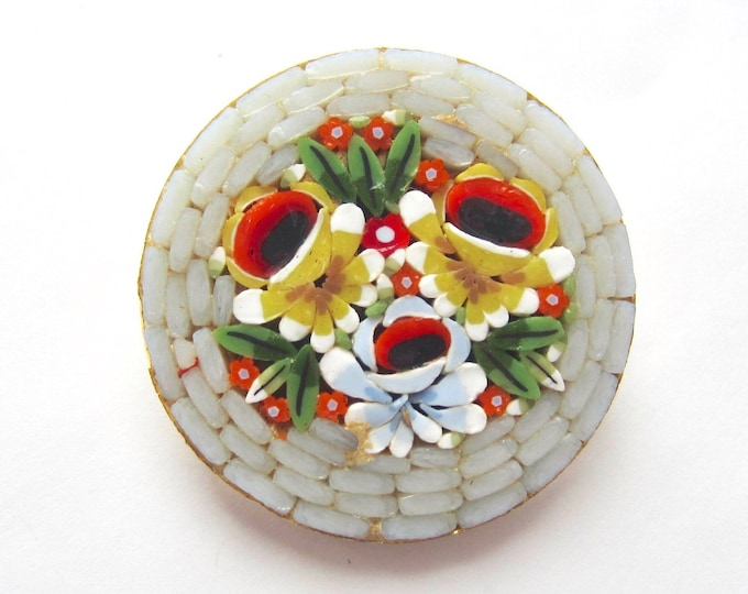 "Italy signed ""Millefiori"" micro mosaic glass Grey, Red, Yellow Flower Bouquet PIN with gold tone metal ~lovely vintage costume jewelry"