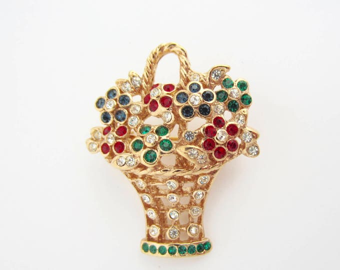 Flower Basket Red, Blue & Green Crystal, gold tone PIN ~lovely, quality, vintage costume jewelry
