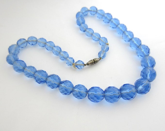 Vintage Czech Blue glass bead Necklace for restringing/project ~sold as is~39 count