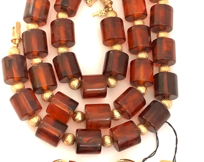 Bakelite tested TRiFARi signed HUGE barrel bead Necklace & Lucite earring set ~pretty, translucent, amber color, vintage costume jewelry