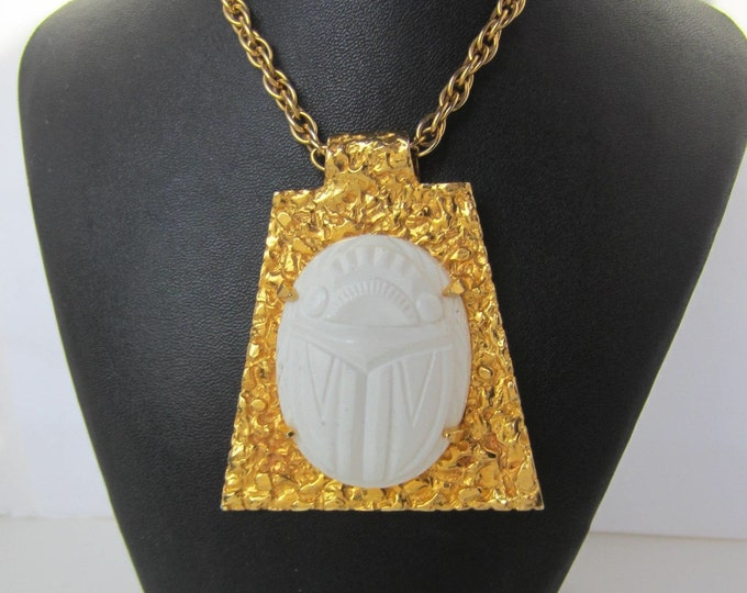 Early Kenneth Jay Lane (KJL) signed Egyptian Revival BiG SCARAB pendant & chain ~outstanding, rare costume jewelry