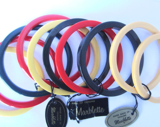 MARBLETTE signed BAKELITE tested Bangle Bracelets spacer LOT ~10 collectible vintage bracelets