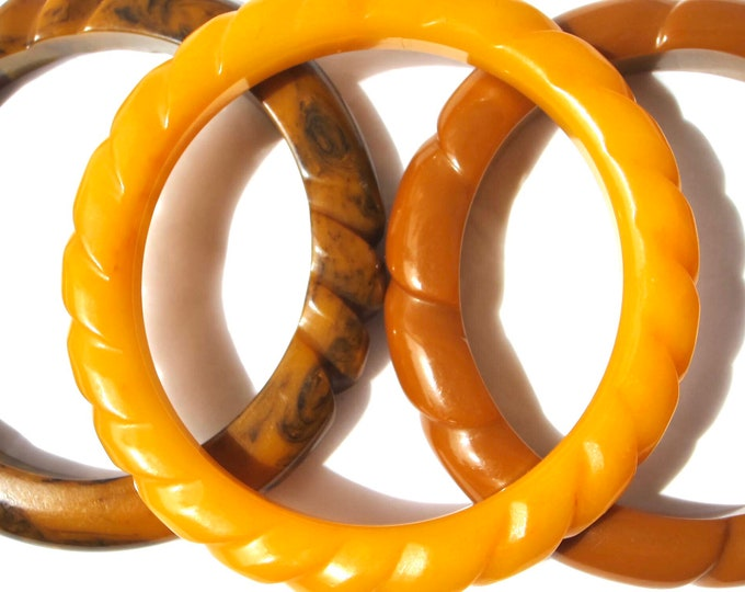 3 BAKELiTE tested carved Twisted-ROPE designed Bangle BRACELET Lot ~74 gms of OUTSTANDING vintage costume jewelry