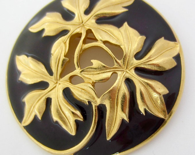 TRIFARI signed Art Nouveau style embossed, gold tone, exotic leaves dish PIN ~big, beautiful, collectible vintage costume jewelry