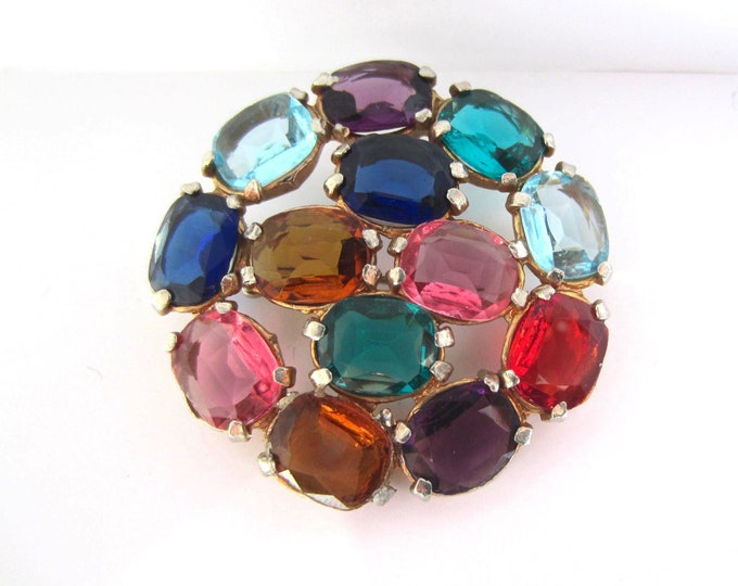 CZECH poured glass multi-color (pinks, shades of blues, purples) translucent pin ~lovely, vintage costume jewelry