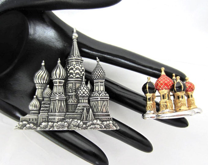 Set Russian Cathedral onion dome Pins, one signed JJ, one with Red~Black enameling ~pretty, vintage costume jewelry