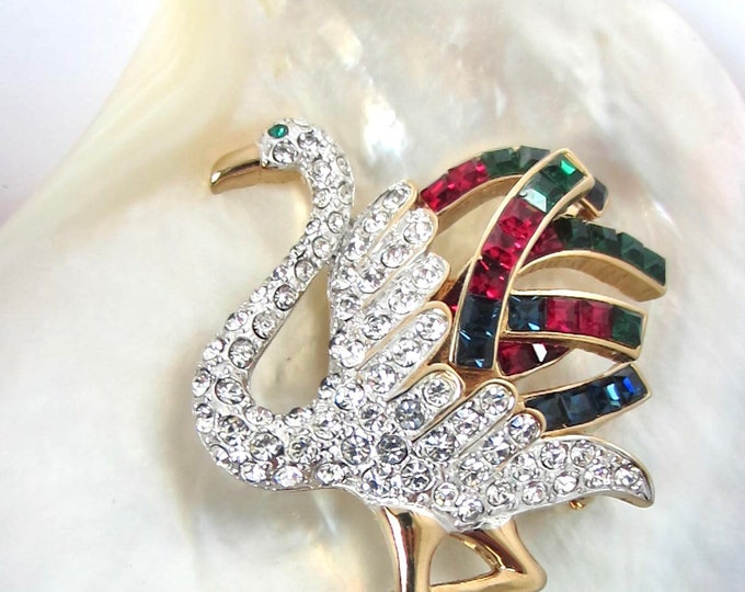 "Carolee signed Big FLAMINGO bird PIN with beautiful crystals ~3"" x 1-3/4"" ~vintage costume jewelry"