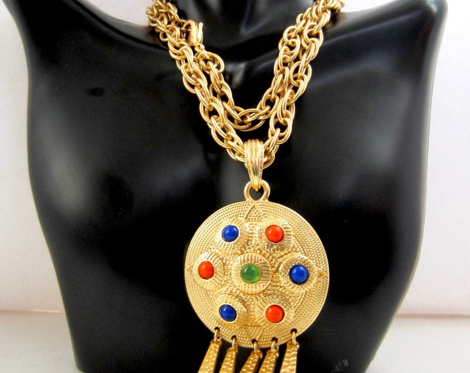 """Kenneth Jay Lane signed mogul-inspired gold tone, cabochon beaded tassel Pendant & Chain ~28"""" pretty, vintage costume jewelry"""