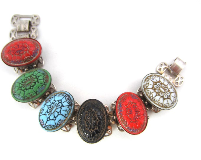 Moroccan Egyptian inspired, multi-color, Matrix panel bracelet ~substantial vintage costume jewelry