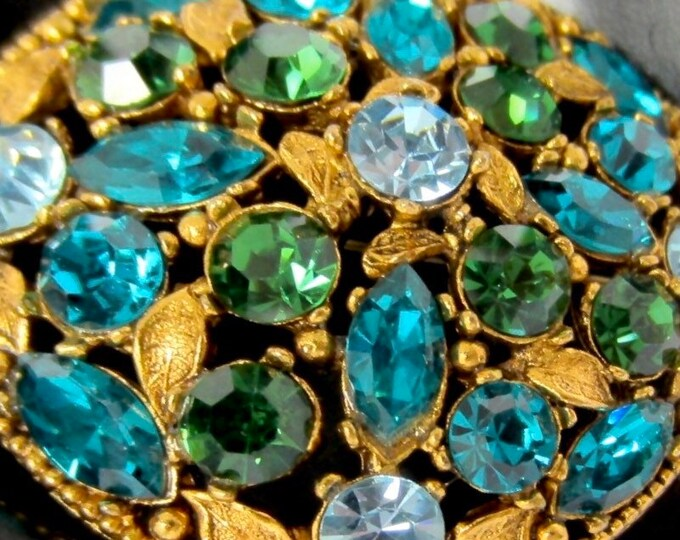 REGENCY signed blue, green tiered FLOWER bouquet pin with beautiful gold tone metal ~collective, vintage costume jewelry