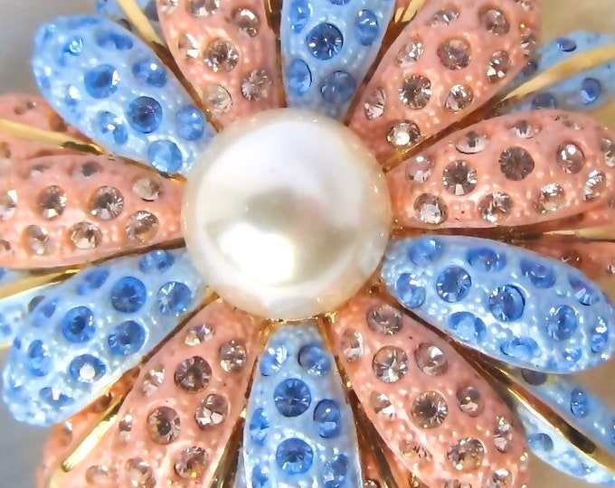 Joan Rivers signed pink & blue burnished crystal Flower PIN with pretty pearl bead center ~lovely, vintage costume jewelry