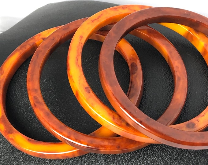 BAKELiTE tested heavily warm, marbled, End-of-the-Day butterscotch & reddish Bangle Bracelet set of 4 ~sophisticated vintage costume jewelry