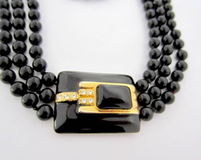 Jet Black Glass Bead, hand knotted, triple-strand Necklace & Art Deco inspired pendant ~175 gms, quality, timeless vintage costume jewelry