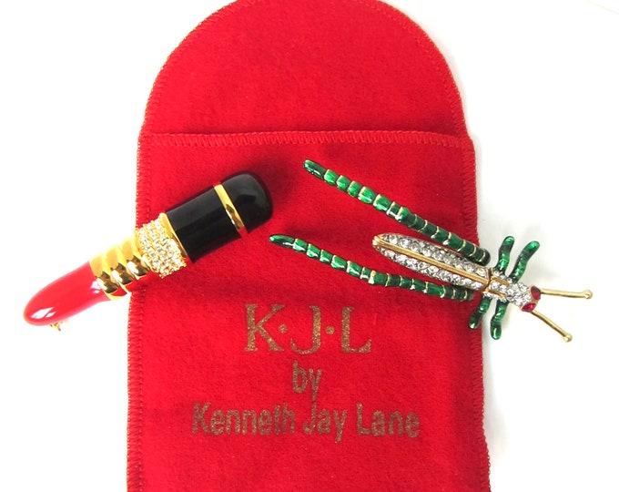 Kenneth Jay Lane signed Lipstick & Cricket/Grasshopper PINS ~pretty vintage pieces with crystals and enameling