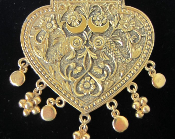 Big Lisner signed Heart-shaped Art Nouveau Pin (crescent moons, fish, flowers, & dangling charms) ~100 gms~ vintage costume jewelry
