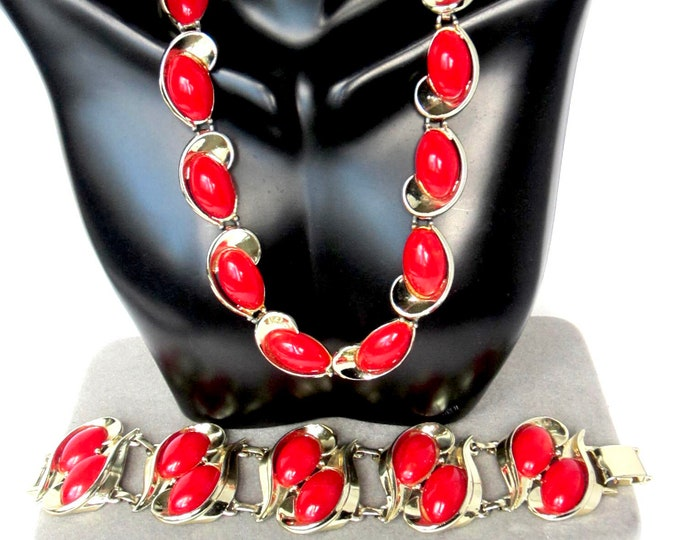 Bakelite Charel signed Simi tested marbled red double-row Bracelet and Necklace ~** gms of mid century costume jewelry
