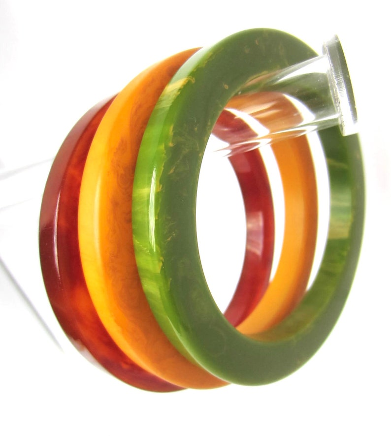 thick genuine Bakelite COG Wheel Bangle Bracelets ~65 gms of wonderful early plastic HUGE Trio