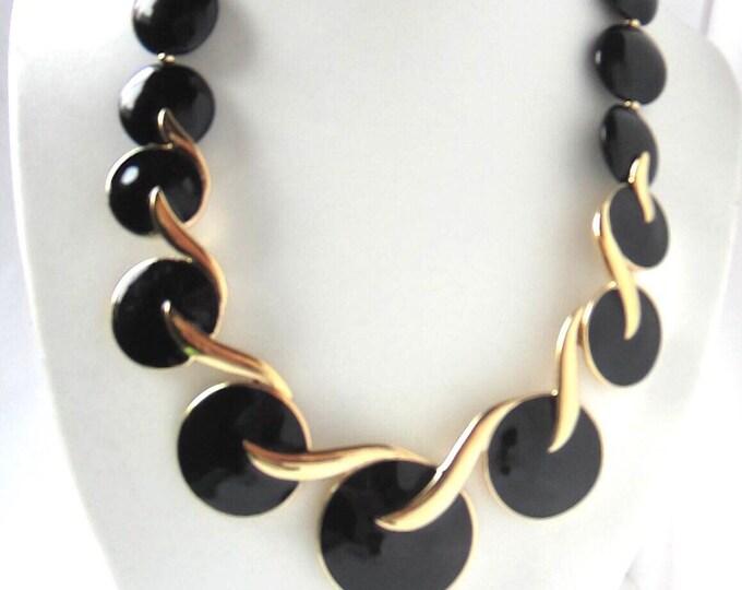 TRIFARI TM signed BLACK enamel & gold-tone metal Necklace ~newer, Art-Deco inspired vintage costume jewelry