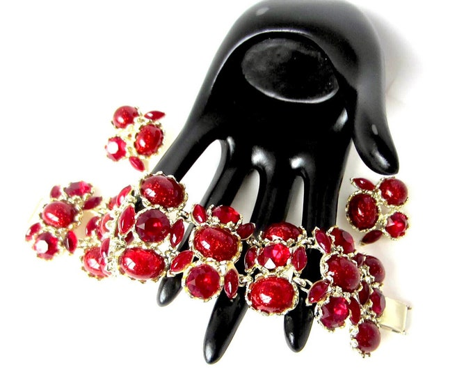 Charel signed substantial RED-Rich Cranberry crystal and art glass Bracelet & clip Earring SET ~beautiful vintage costume jewelry