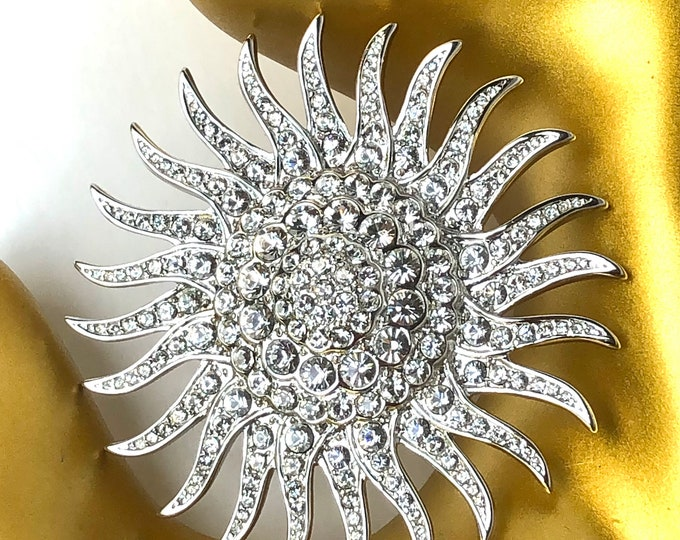 Camrose & Kross Jackie Kennedy (JBK signed) crystal STAR Burst PIN, original blue velvet box, rein. card, authenticate paper ~classic