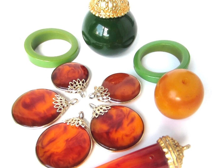 Bakelite Simi tested Lot—UNIQUE beads/pieces (giant beads, teal earring hoops, tortoise coins) for beading/jewelry creations ~early plastic