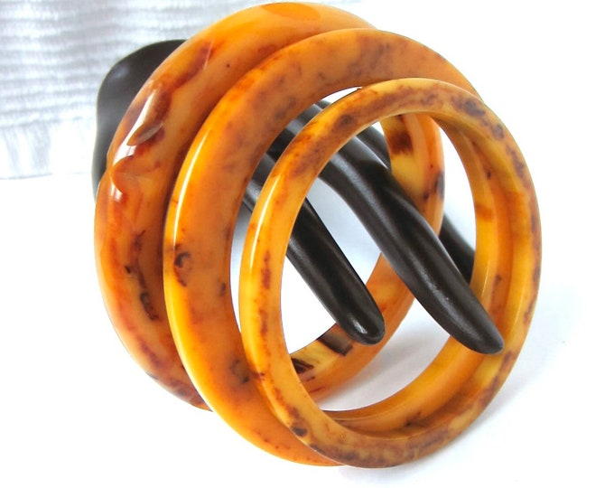 Bakelite Simi tested Butterscotch & Wine marbled Bangle Bracelet Lot (carved, cog wheel, spacer) Trio ~57 gms of pretty midcentury jewelry