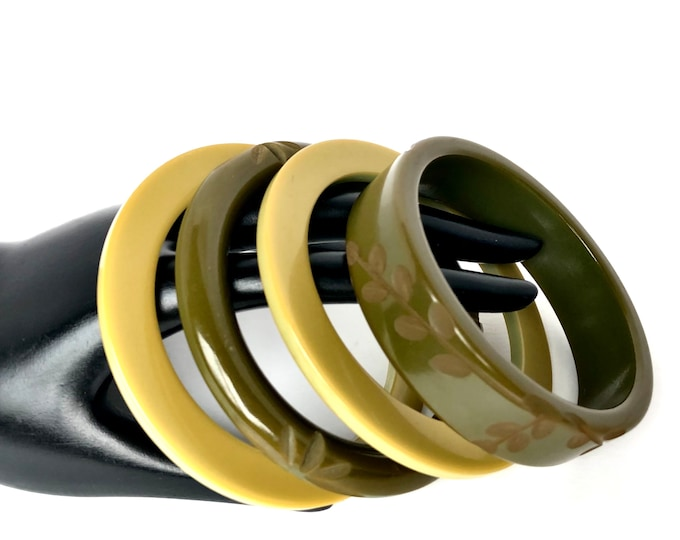 """Bakelite Simi tested """"Shades of Olive Green"""" Bangle Bracelet LOT (2 floral carved, 2 cog wheels) ~79 gms of early vintage jewelry"""