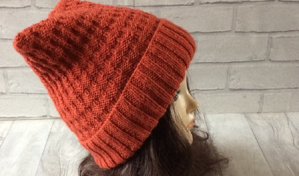 d76264a221a Children s wooly hat Hand knitted Size 6-7 years Burnt