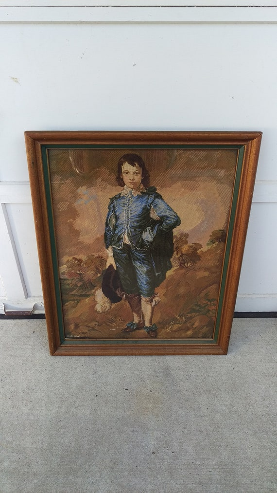 Blue Boy Needlepoint 21x285 In 26x32 Wood Frame 1970s Etsy