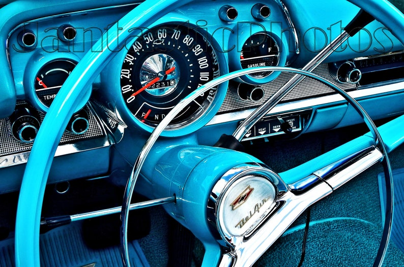 Bel Air Dashboard Photograph 1957 Chevrolet Chevy Turquoise Steering Wheel Gauges Instant Download Photo Classic Car Photography Automobile