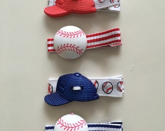 59cc8053c7e Baseball and Cap Hat Button Hair Clips for Girl
