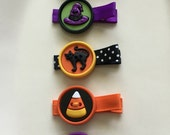 Halloween Hair Clips Pumpkin, Witch, Black Cat, Candy Corn, Ghost Barrettes for Girls and Baby (set of 5 clips)