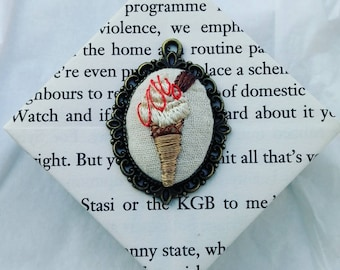 Hand embroidered pendant, 99 ice cream with flake and strawberry sauce. Quirky, unusual, funny gift. Summer, festival jewellery.
