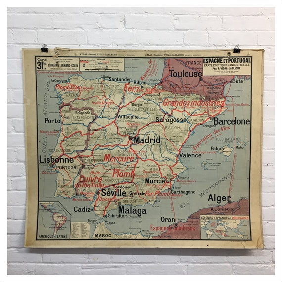 Map Of Spain Portugal And France.French Vidal Lablache Map Of Spain Portugal