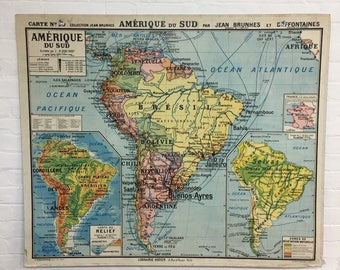Industrial Vintage French Vidal Lablache School Wall Map South America