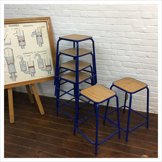 Pleasant Vintage Blue French School Lab Stools Beatyapartments Chair Design Images Beatyapartmentscom