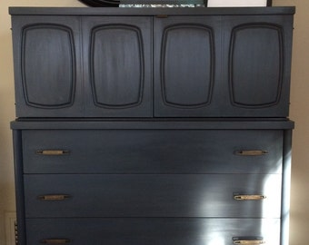 SOLD - Midcentury Graphite Highboy / Annie Sloan / Chalk Paint / Chest of Drawers
