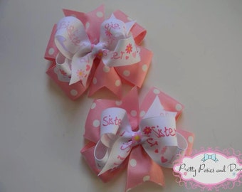 Double Pinwheel Big Sister Hair Bow Boutique Rainbow Clip Girl Pink Big Sis