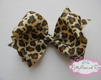 Cheetah Bow, Leopard Bow, Cheetah Hair Bow, Leopard Hair Bow, Cheetah Print Hair Bow, Leopard Print Hair Bow