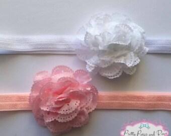 Small Eyelet Flower, White Eyelet Flower Hair Clip, Pink Eyelet Flower Hair Clip, Eyelet Flower Headband