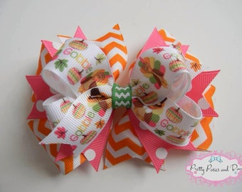 Thanksgiving Hair Bow, Pink Thanksgiving Hair Bow, Turkey Hair Bow, Pink and Orange Hair Bow, Fall Hair Bow