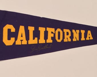Circa 1930's California / Cal Sewn Letter Pennant Signed by Quarterback Great Steve Bartkowski - Vintage College Football