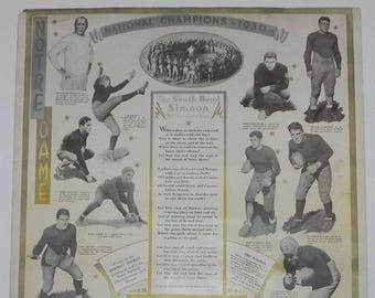 Spectacular 1930 University of Notre Dame Football Poster Style Calendar with Knue Rockne & Frank Carideo